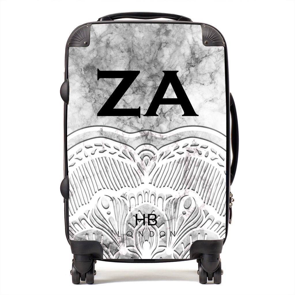 Personalised White Angel Marble with Black Font Initial Suitcase