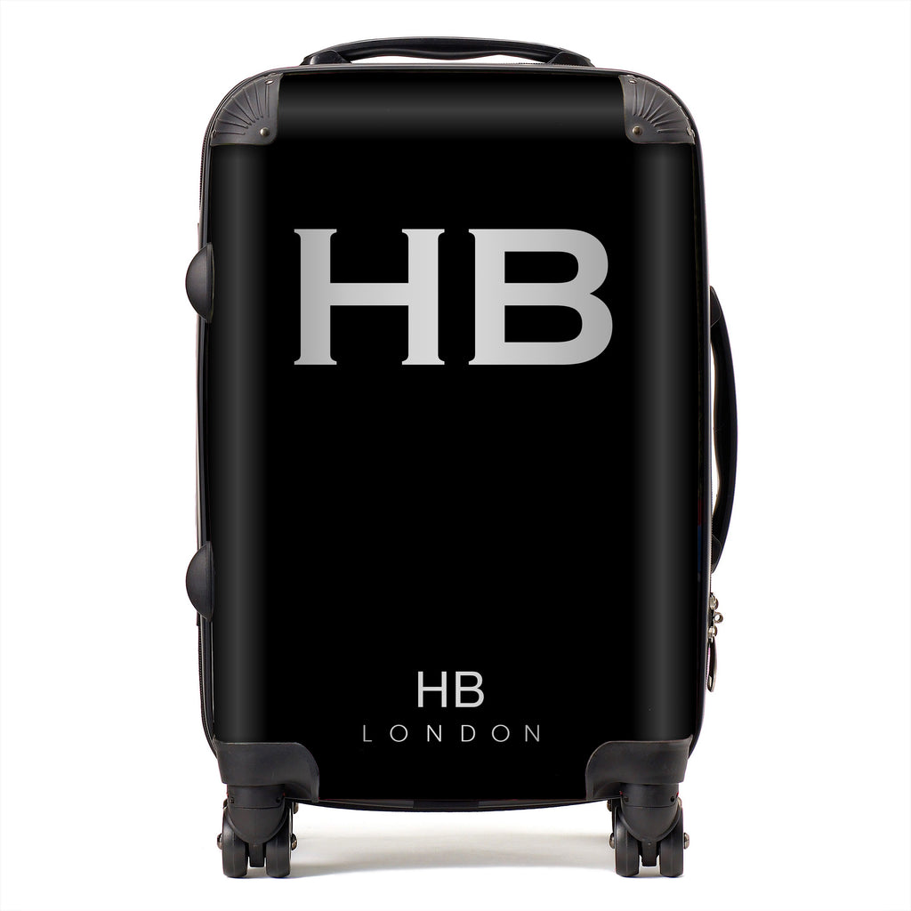 Personalised Black with Silver Font Initial Suitcase