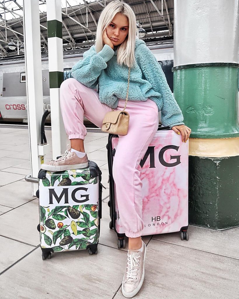 Personalised Pink Marble Initial Suitcase