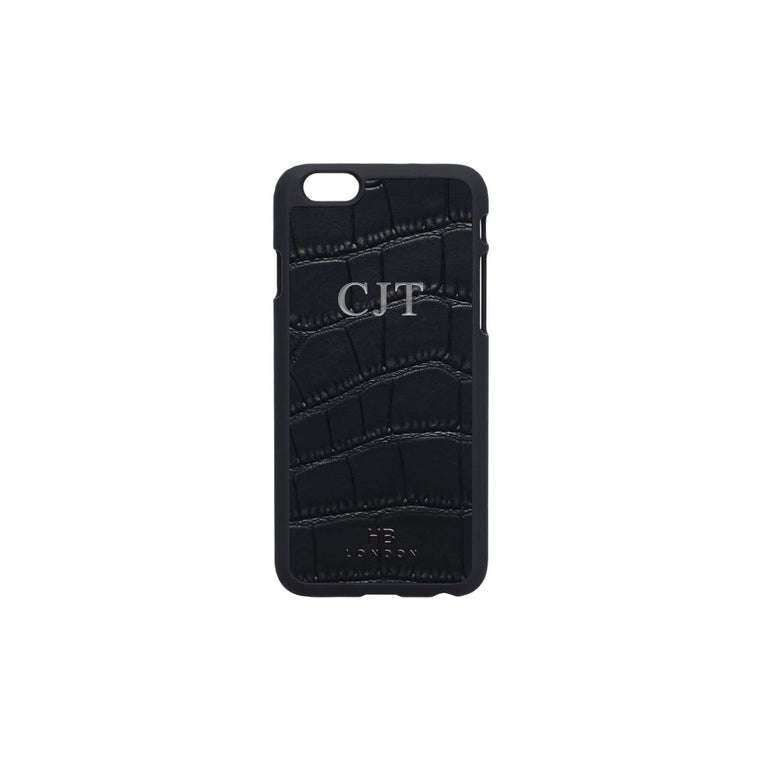 Black Mock Croc Leather iPhone6/6s Phone Case