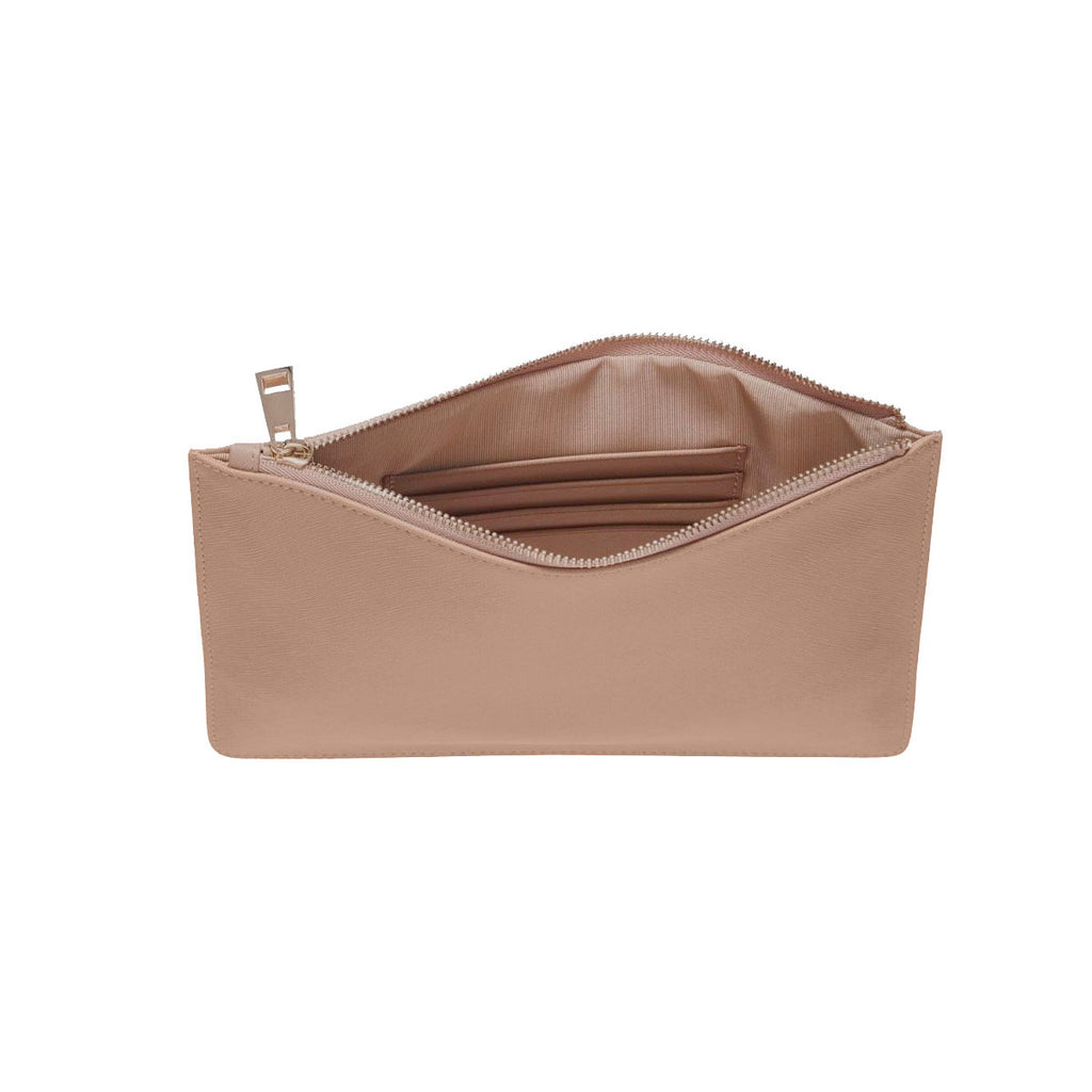 Nude Taupe Saffiano Leather Clutch | Pouch Bag
