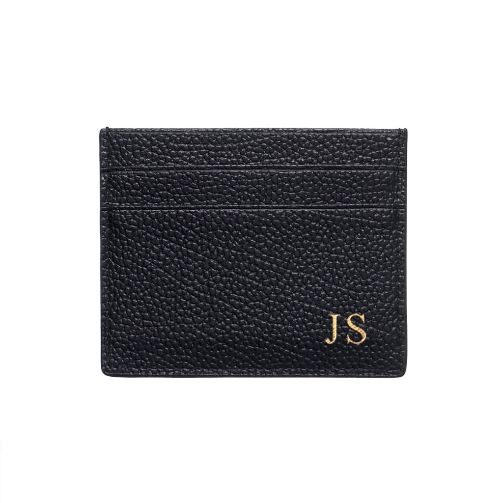 Black Pebble Leather Double Card Holder