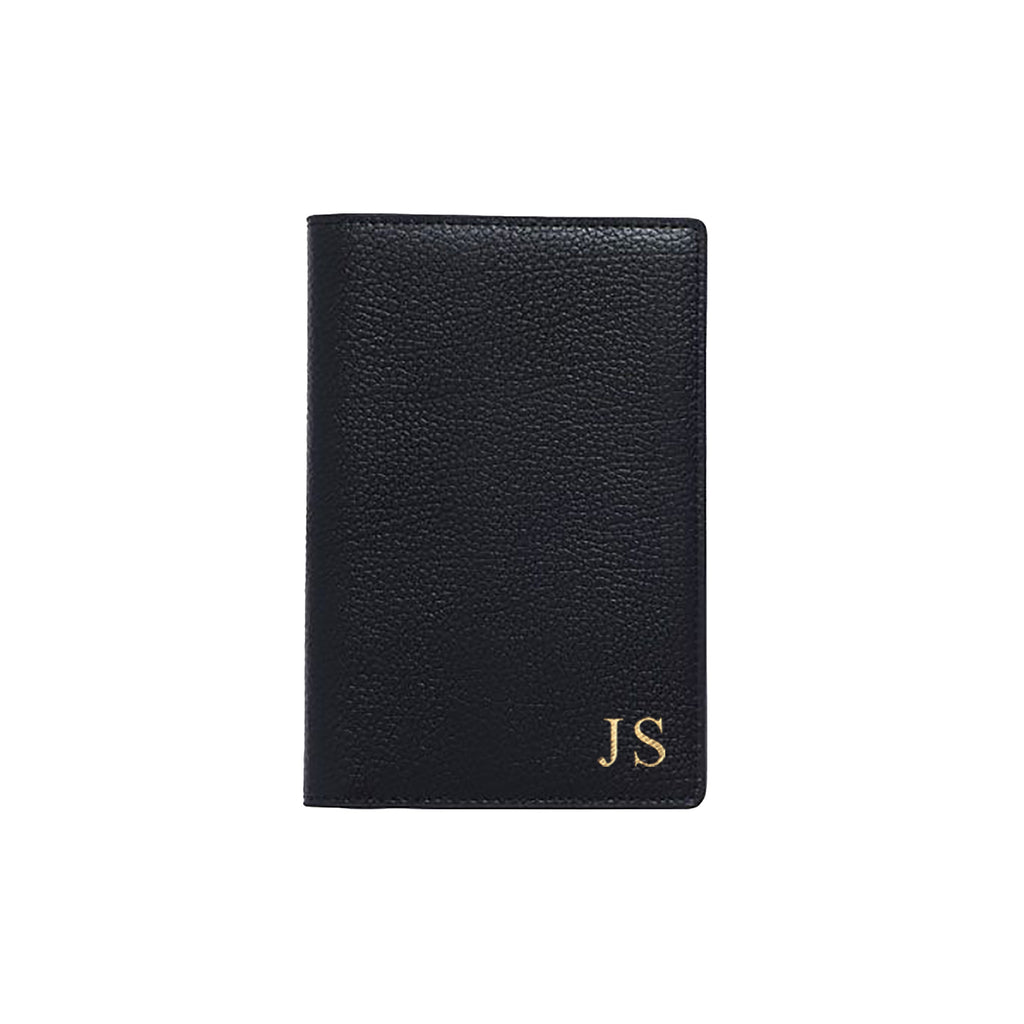 Black Pebble Leather Passport Holder