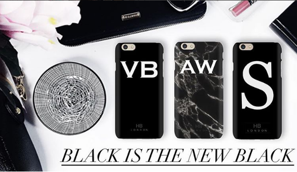 Personalised Black Single Initial with White Font Phone Case