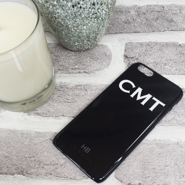 Personalised Black with White Font Initial Phone Case