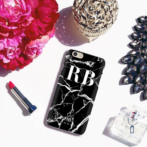 Personalised Black and White Marble Initial Phone Case