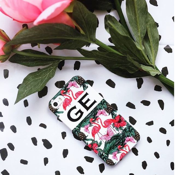 Personalised Flamingo and Butterfly Initial Phone Case