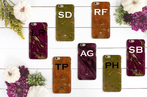Personalised Green and Gold Marble with Black Font Initial Phone Case