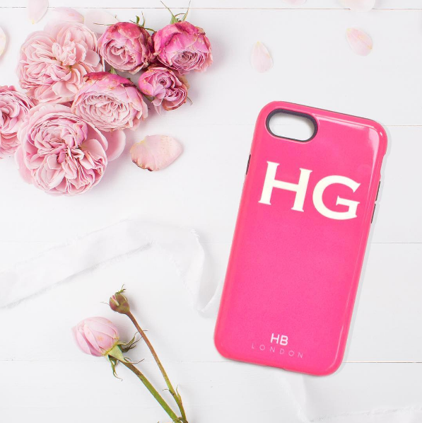 Personalised Hot Pink Initial Phone Case with White Font