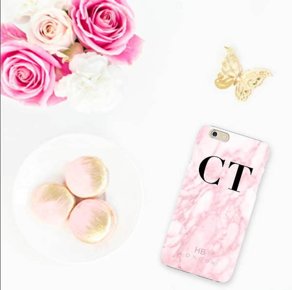 Personalised Pink Marble Initial Phone Case