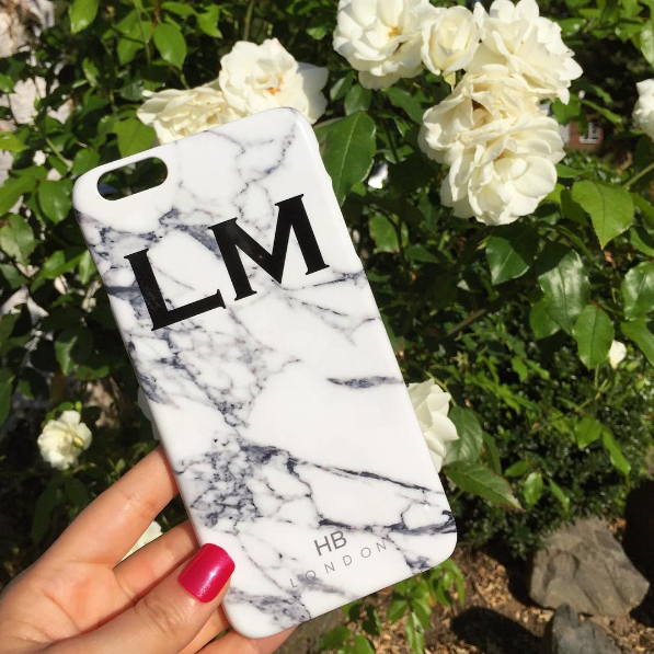 Personalised White Marble Initial Phone Case