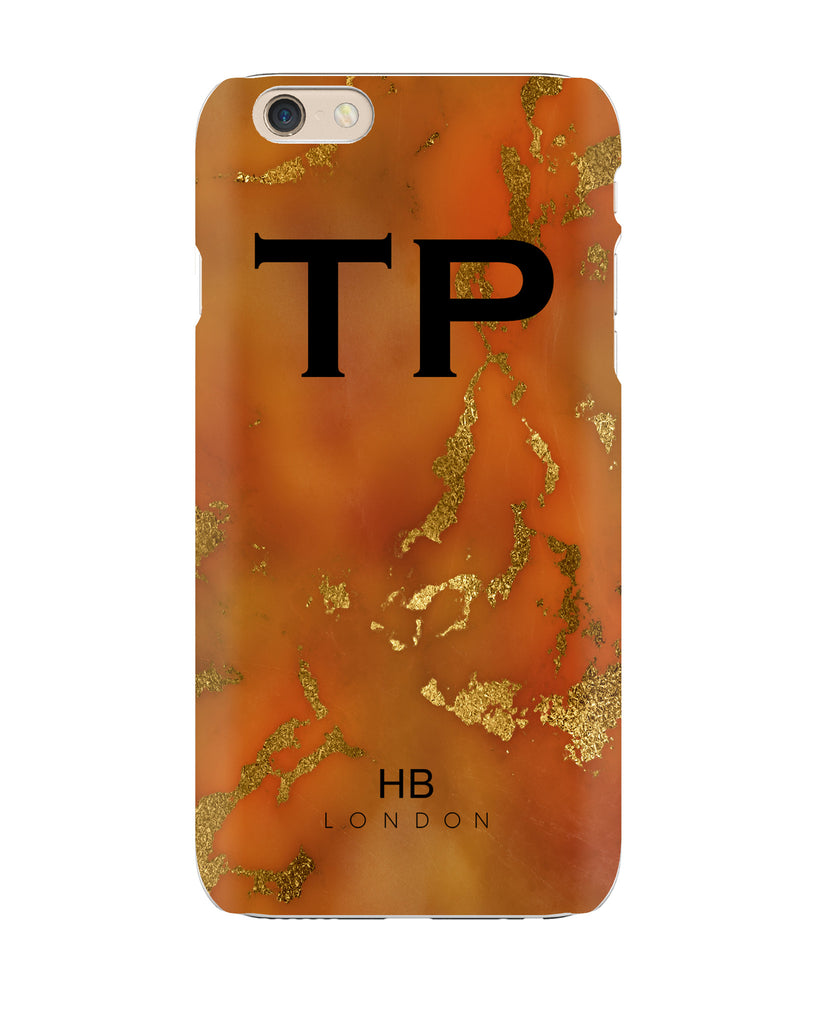 Personalised Amber and Gold Marble with Black Font Initial Phone Case