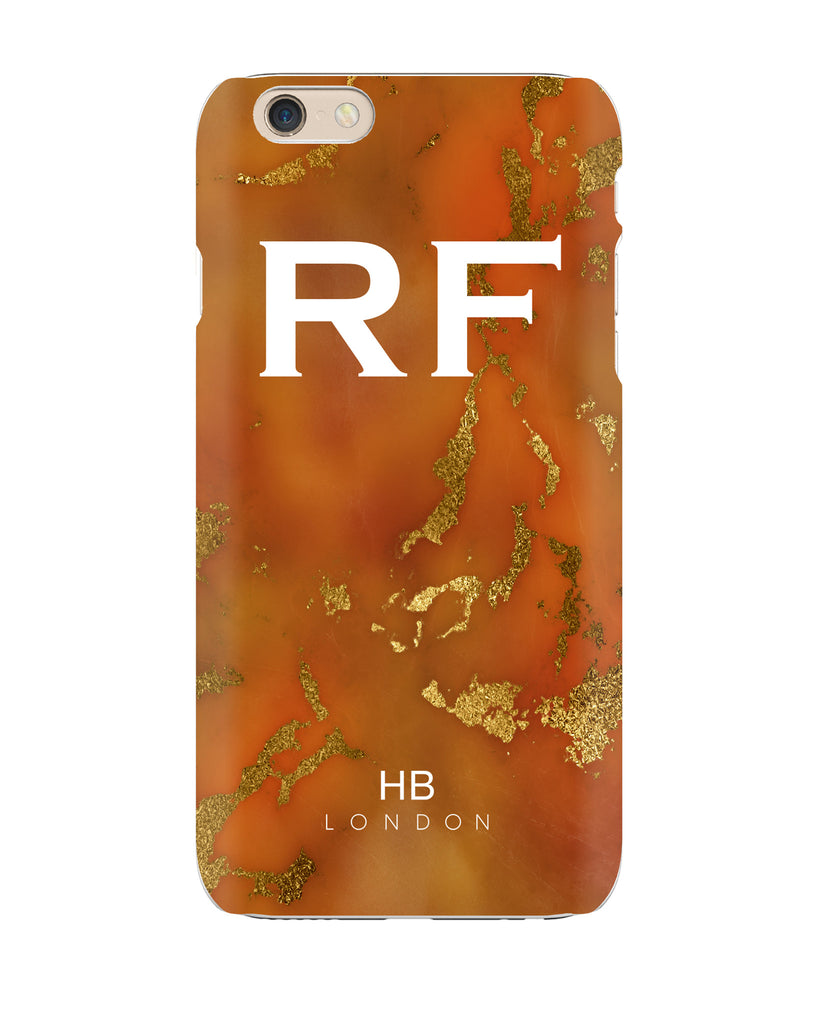 Personalised Amber and Gold Marble with White Font Initial Phone Case