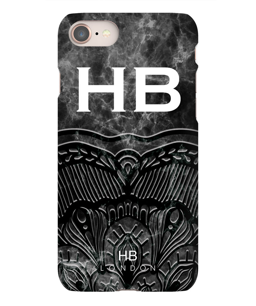 Personalised Black Angel Marble with White Font Initial Phone Case