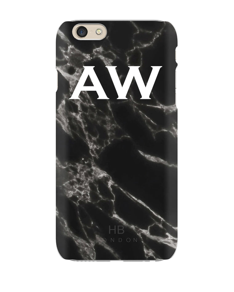 Personalised Black Marble Initial Phone Case