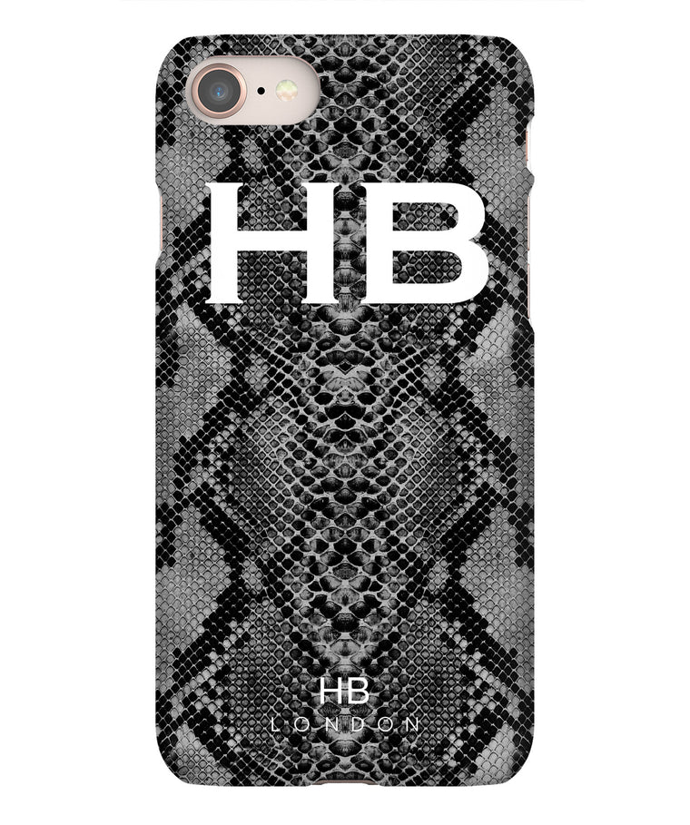 Personalised Black Snake Skin Print with White Font Initial Phone Case