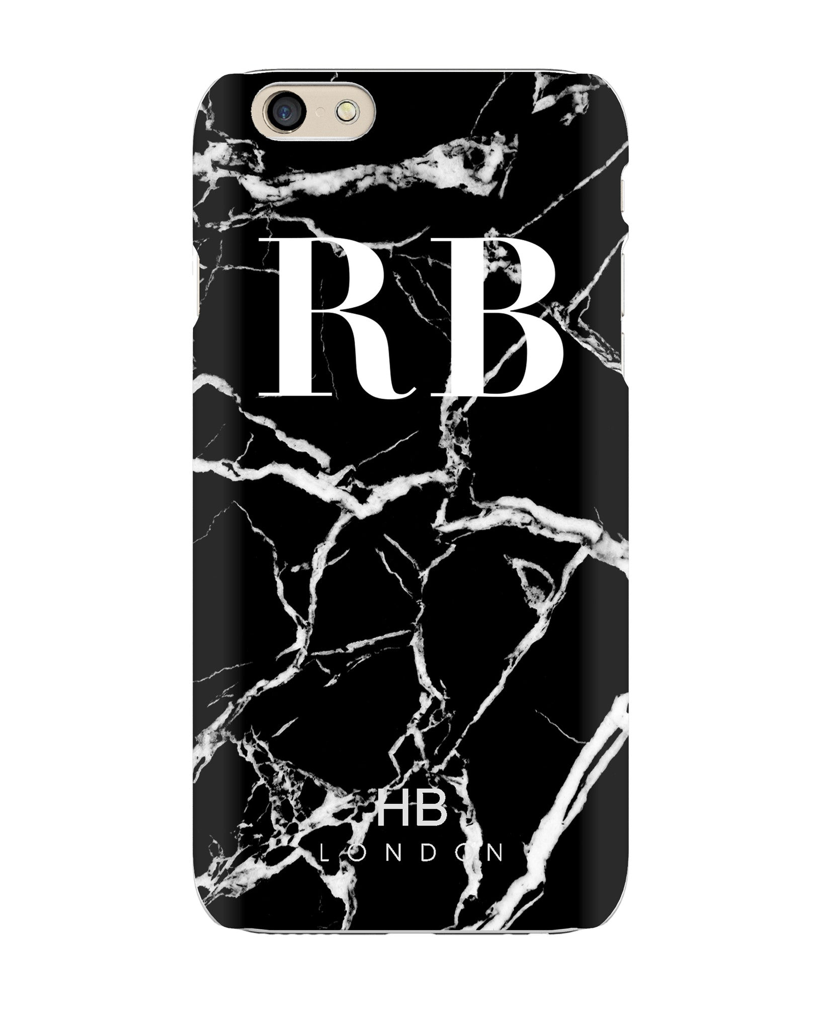 the best attitude cd9f1 6e687 Personalised Black and White Marble Initial Phone Case