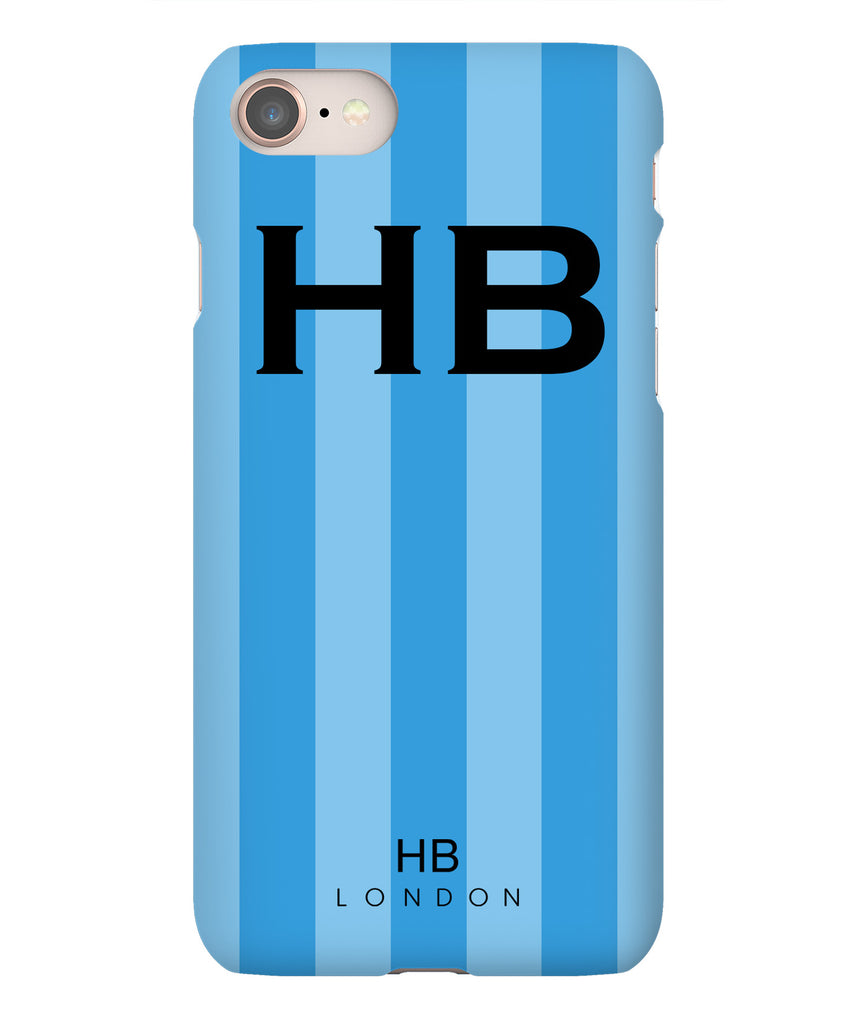 Personalised Blue Stripe with Black Font Initial Phone Case