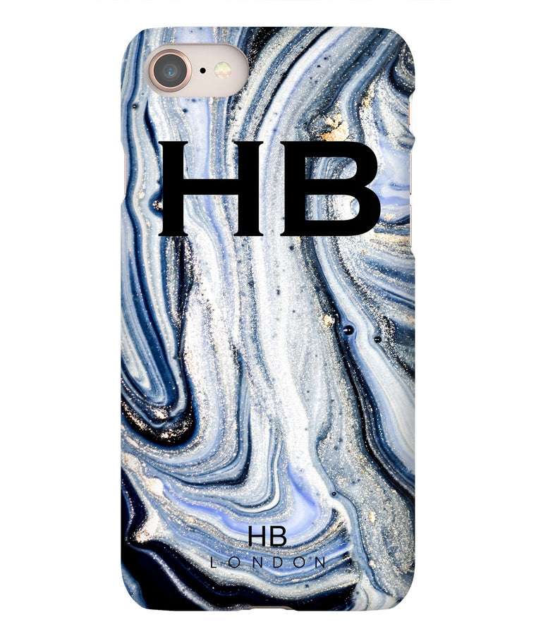 Personalised Blue and White Liquid Marble with Black Font Initial Phone Case