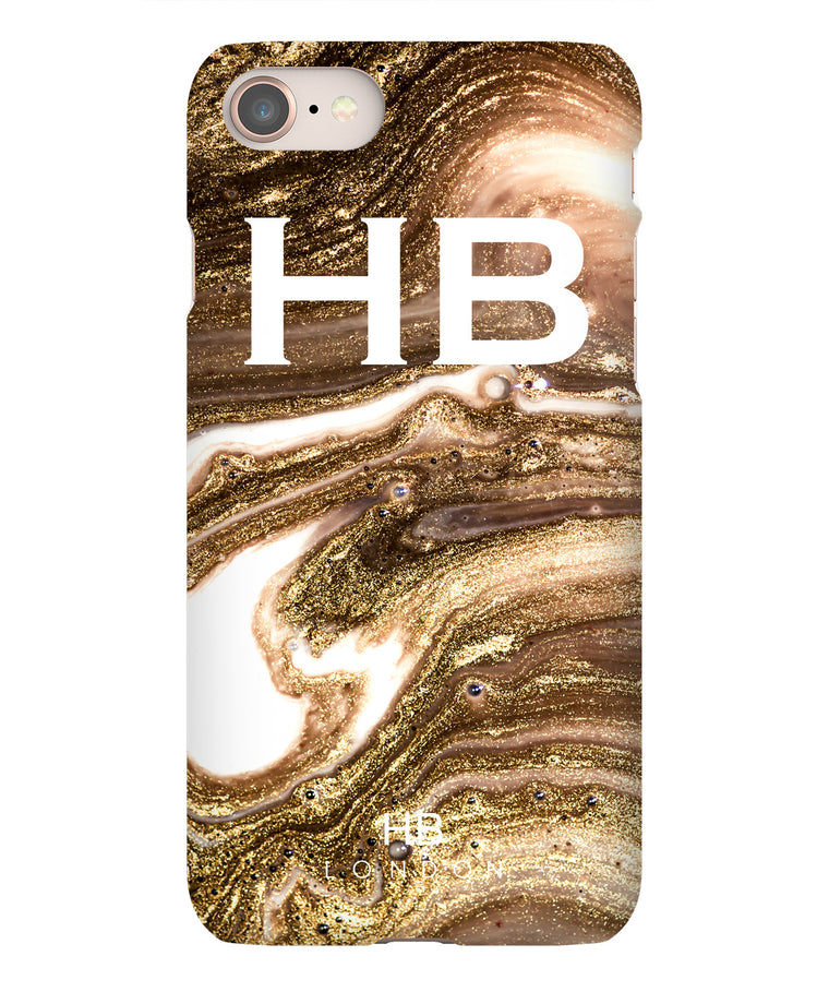 Personalised Bronze Liquid Marble with White Initial Phone Case