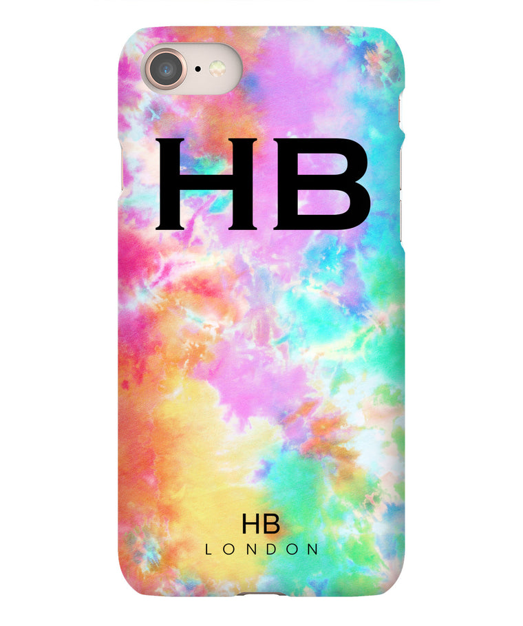 Personalised Colour Pop Tie Dye with Black Font Initial Phone Case