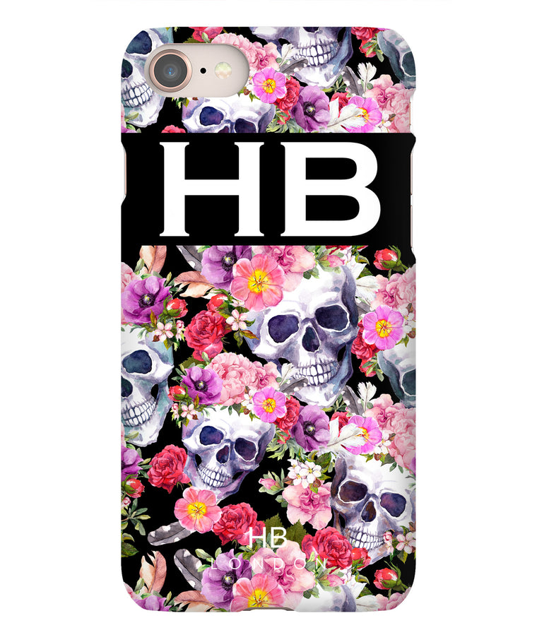 Personalised Floral Skull Initial Phone Case