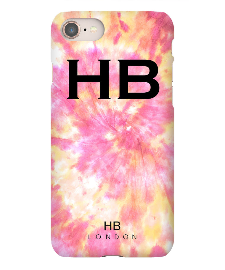 Personalised Fruit Salad Tie Dye with Black Font Initial Phone Case