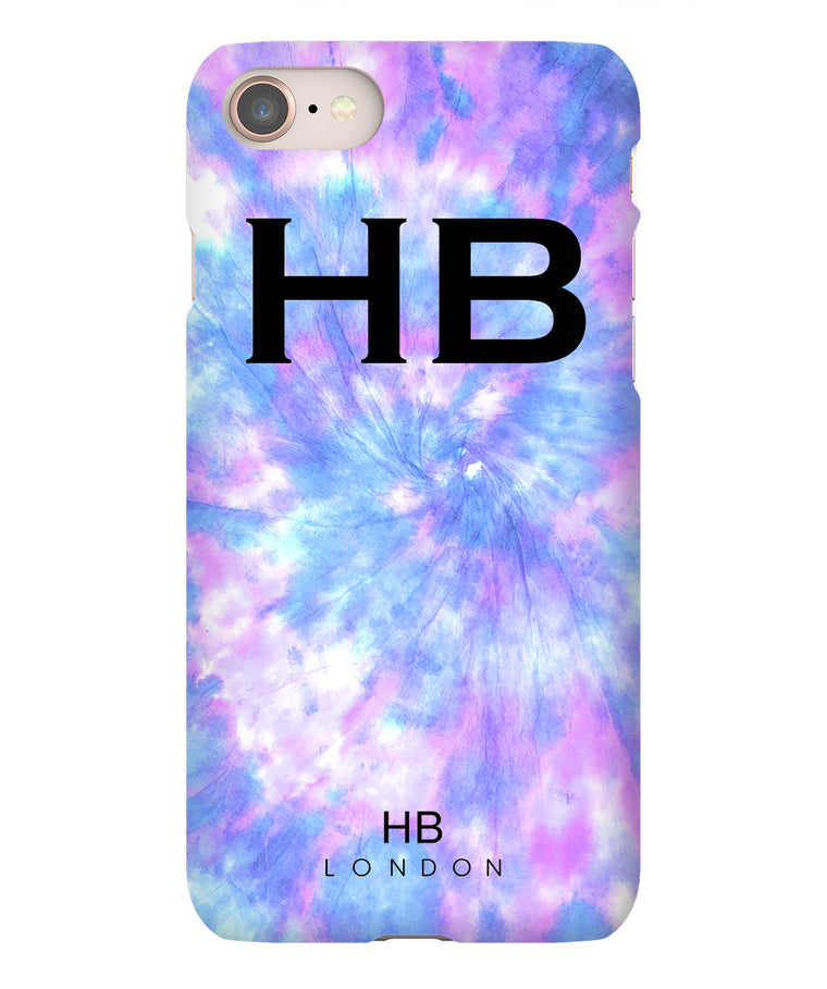 Personalised Galaxy Tie Dye with Black Font Initial Phone Case