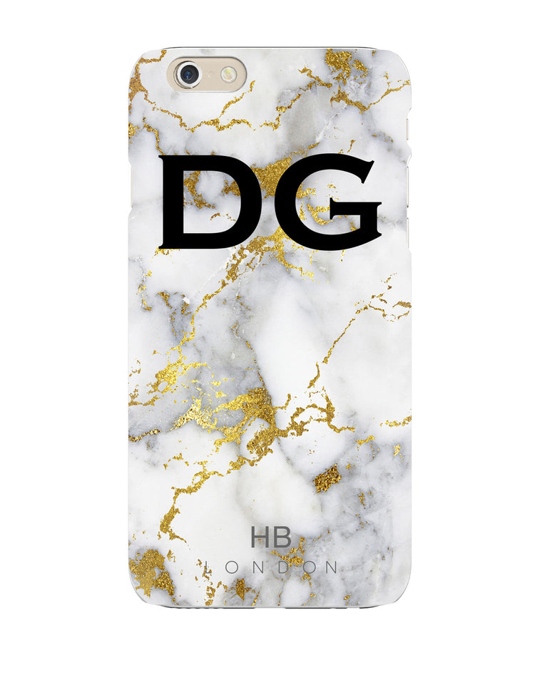 Personalised White and Gold Foil Marble Initial Phone Case