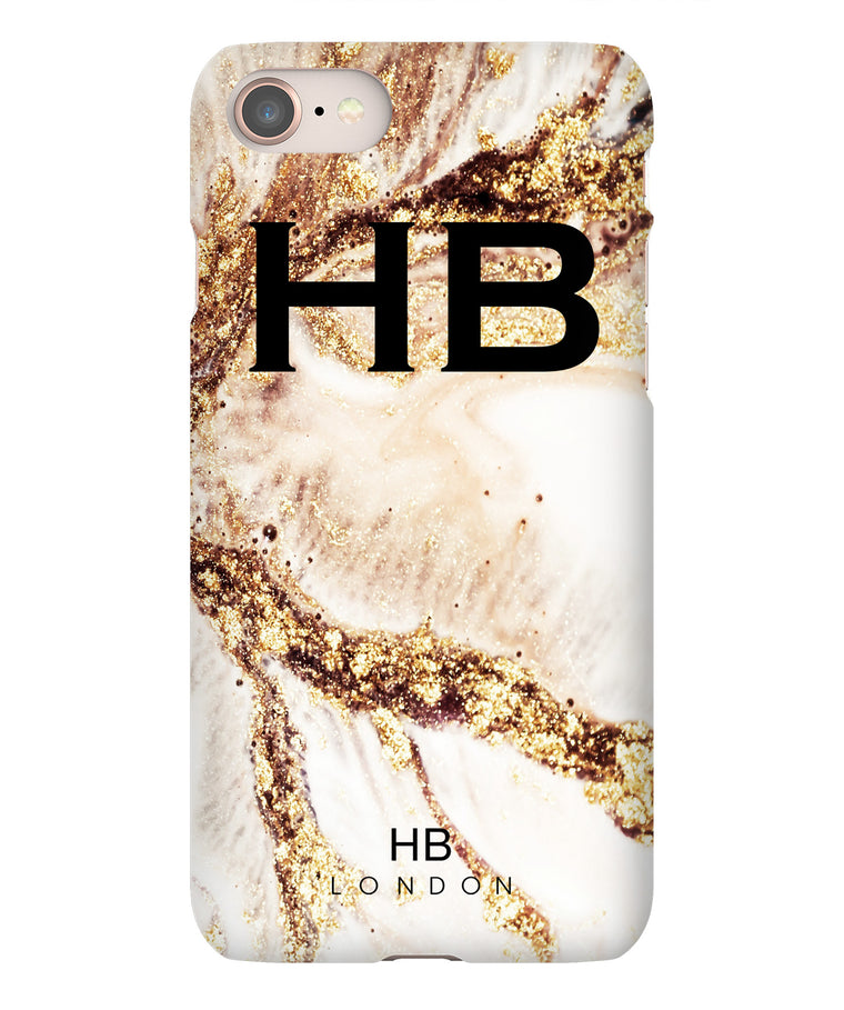Personalised Golden Cracked Marble with Black Font Initial Phone Case