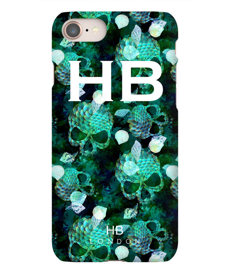 Personalised Green Mermaid Skull Initial Phone Case