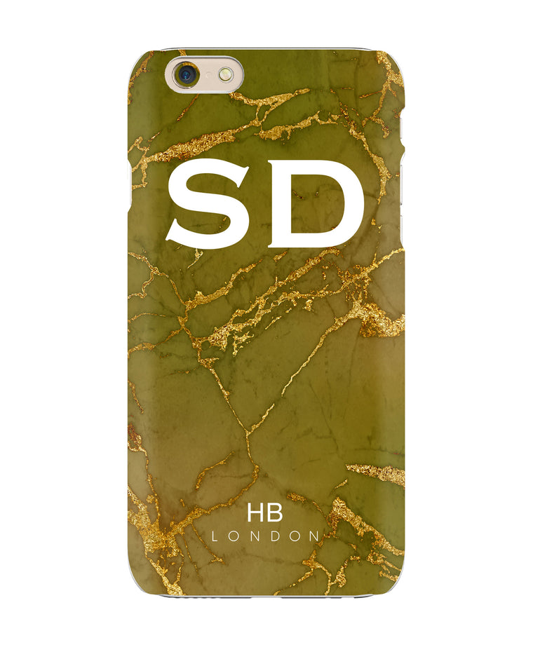 Personalised Green and Gold with White Font Initial Phone Case