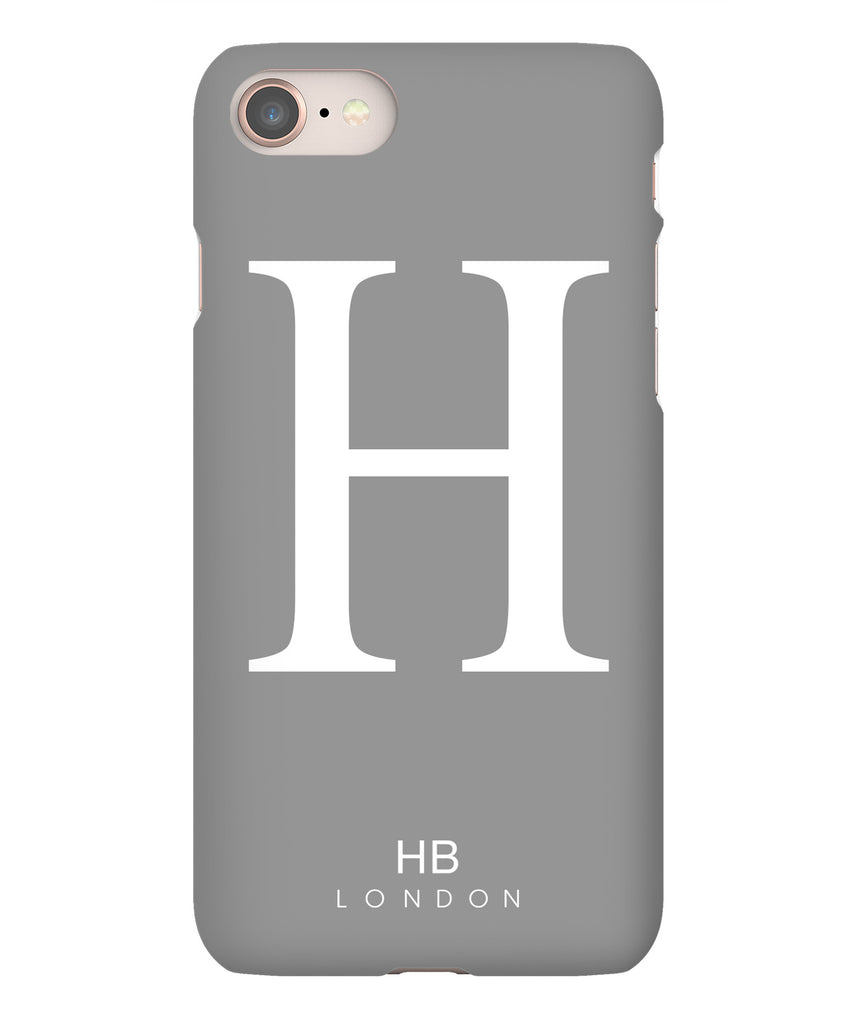 Personalised Grey Single Initial with White Font Phone Case