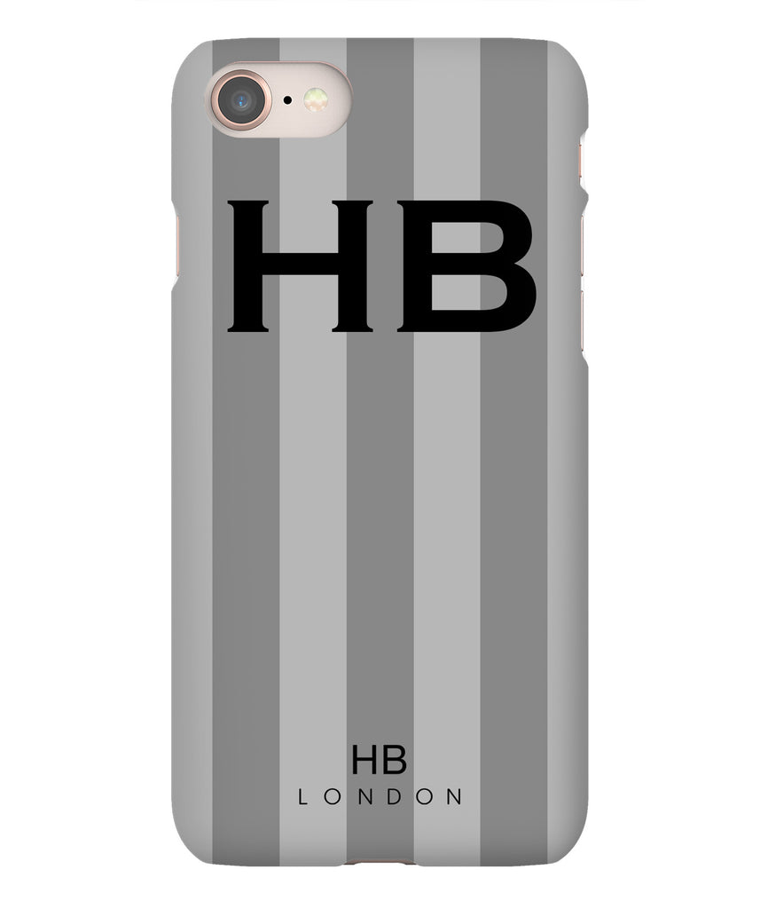 Personalised Grey Stripe with Black Font Initial Phone Case