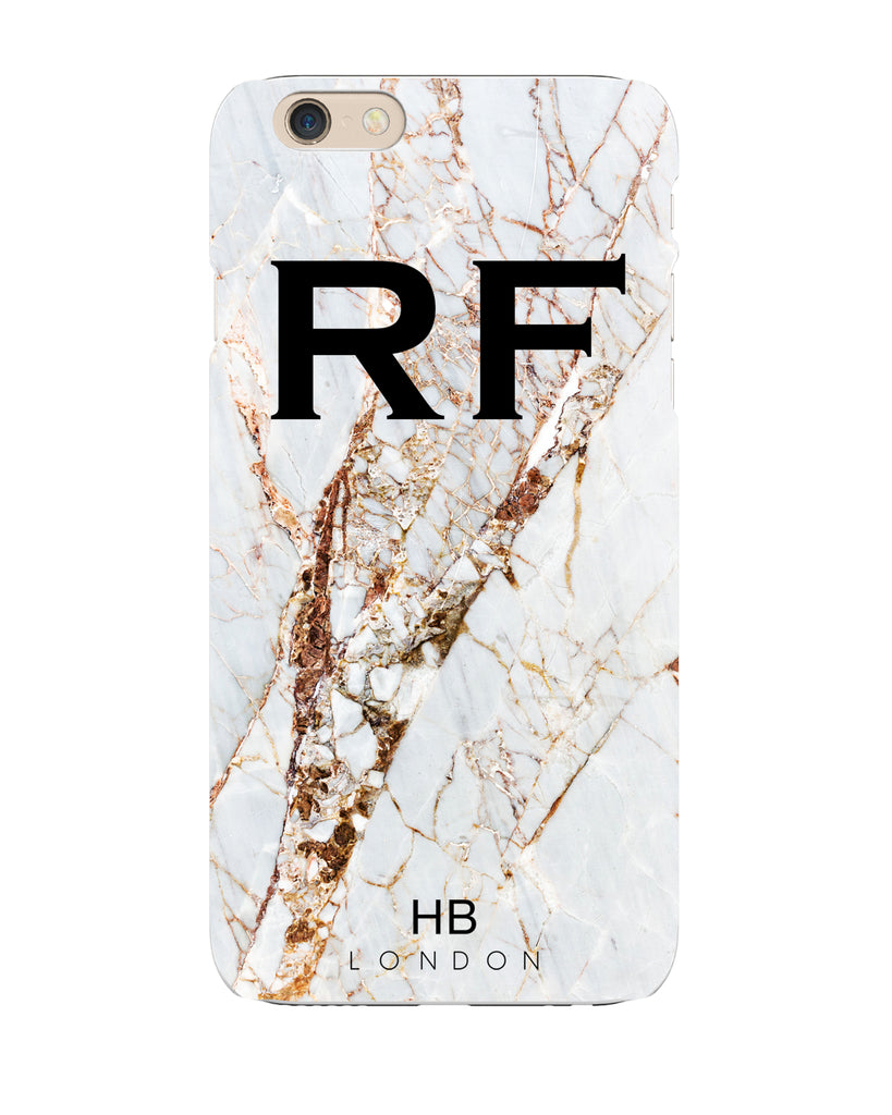 Personalised Natural Cracked Marble Initial Phone Case