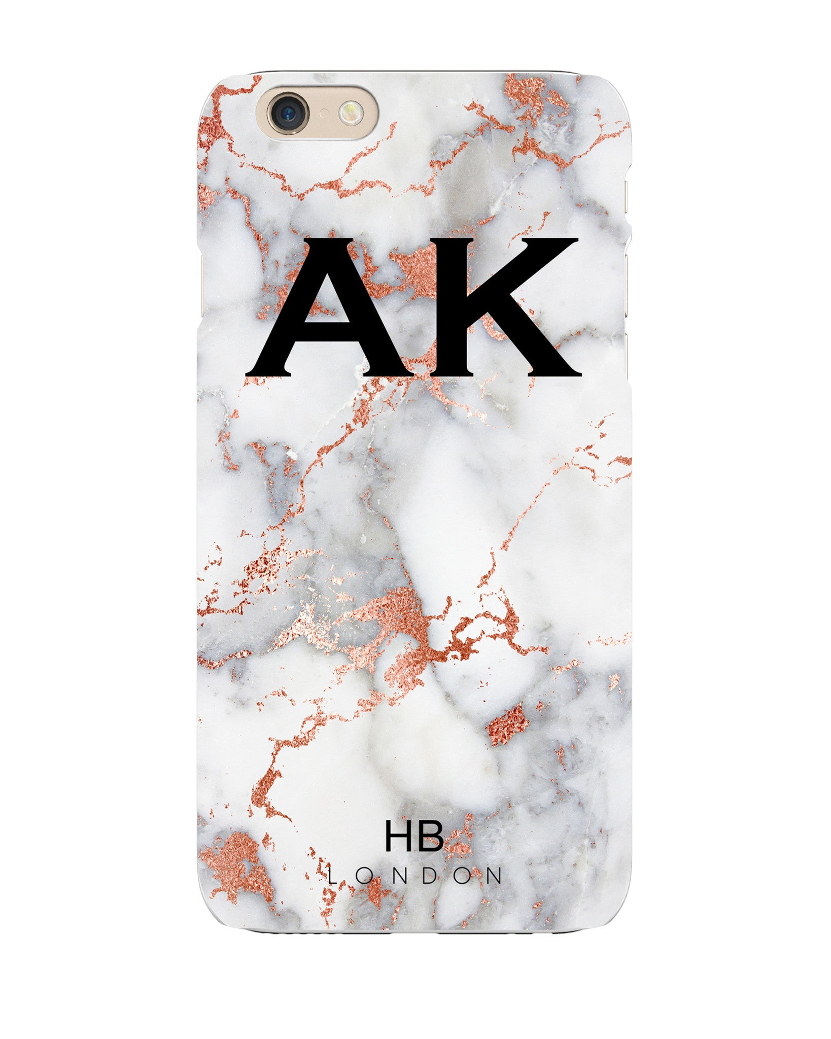 online store ac956 d573c Personalised White and Rose Gold Foil Marble Initial Phone Case