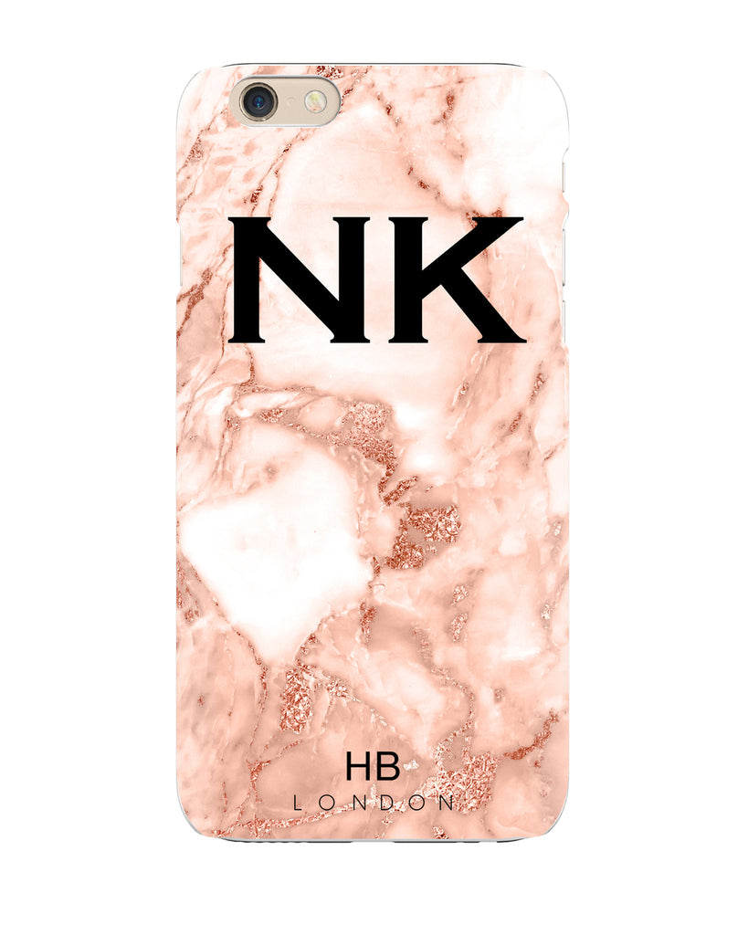 Personalised Rose Gold Marble Foil Initial Phone Case