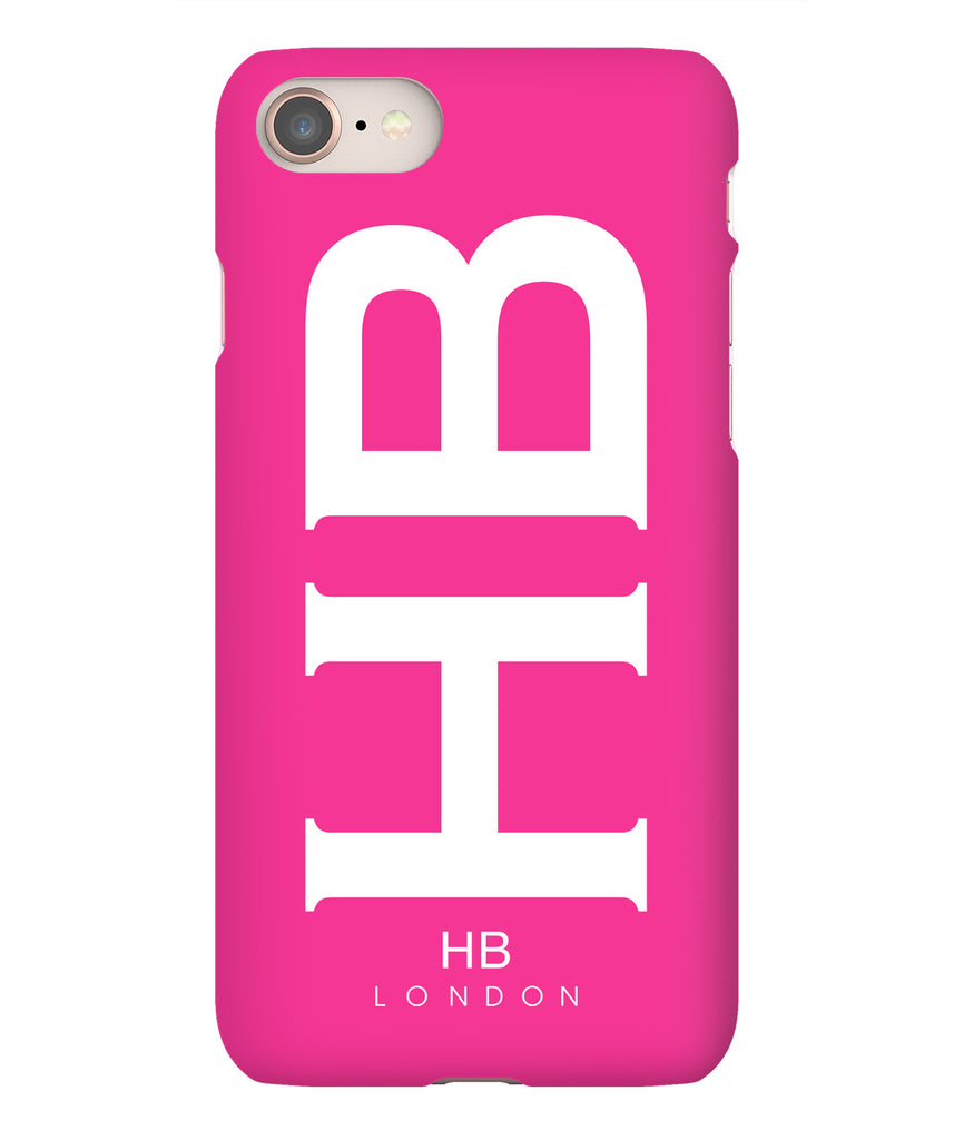 Personalised Hot Pink XL with White Font Initial Phone Case