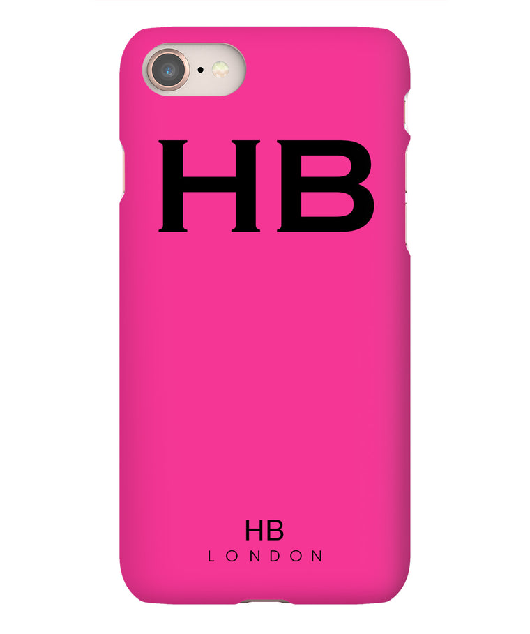 Personalised Hot Pink Initial Phone Case with Black Font