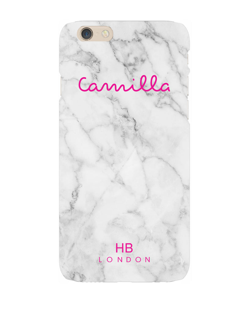 Personalised White Marble Love Script Phone Case