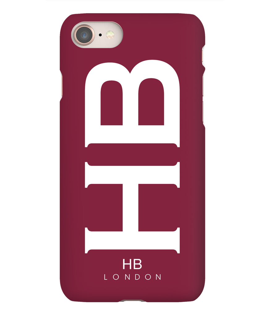 Personalised Maroon XL with White Font Initial Phone Case