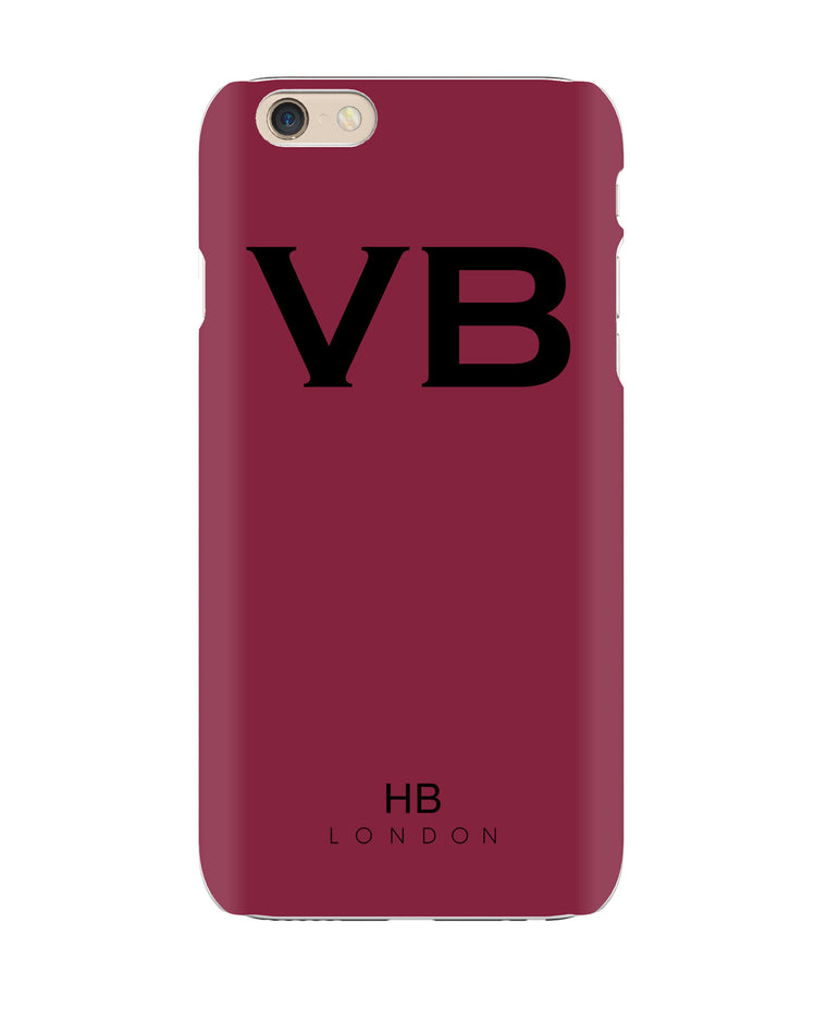 Personalised Maroon Initial Phone Case with Black Font