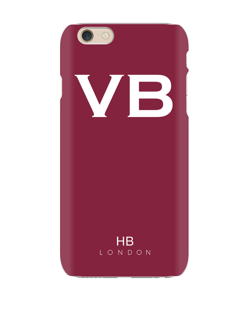 Personalised Maroon Initial Phone Case with White Font