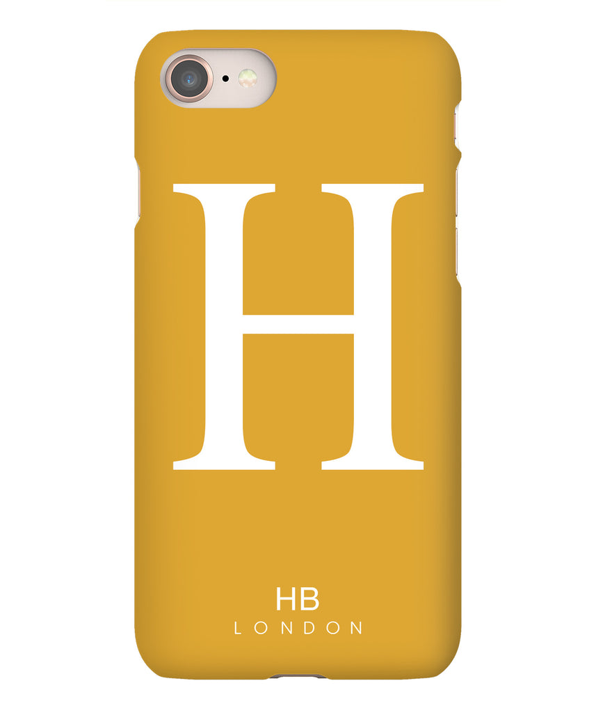Personalised Mustard Single Initial with White Font Phone Case