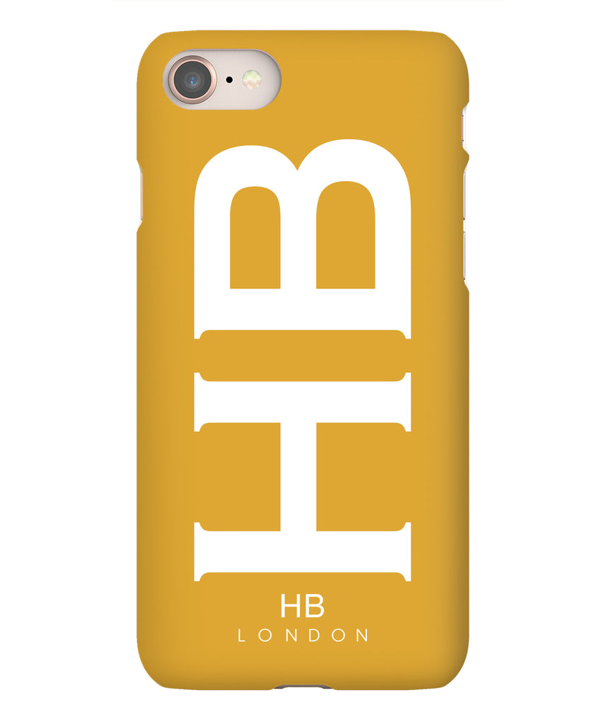 Personalised Mustard XL with White Font Initial Phone Case
