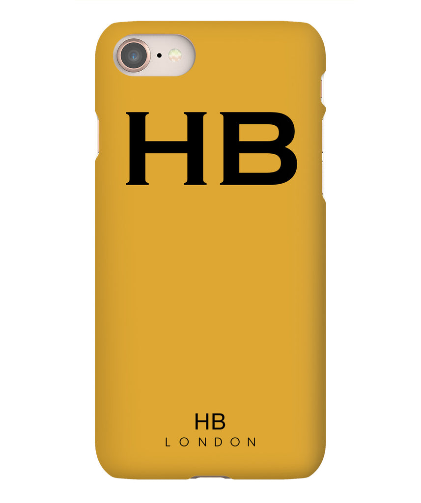 Personalised Mustard with Black Font Initial Phone Case