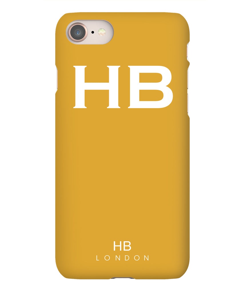 Personalised Mustard with White Font Initial Phone Case