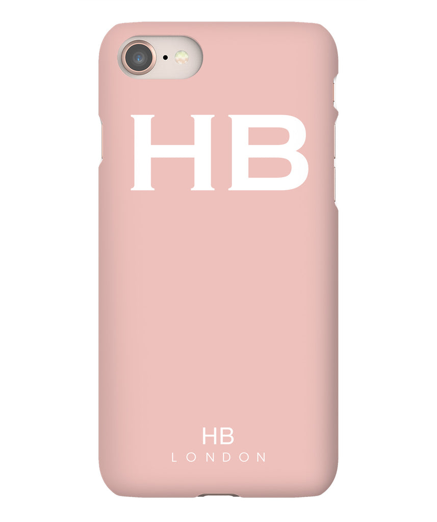 Personalised Nude Pink with White Font Initial Phone Case