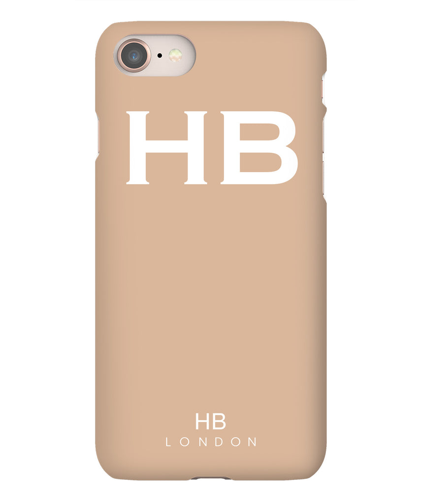Personalised Nude with White Font Initial Phone Case