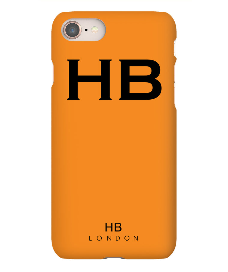 Personalised Orange with Black Font Initial Phone Case